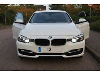 BMW 320D Sport Alpine White Leather with red piping, one owner 62k warranted miles, HPI Clear Mint!