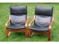 black leather chairs very good condition