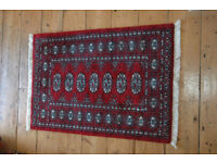 Bokhara Oriental Rug Dark Red patterned 66 x 95cm (without fringe)