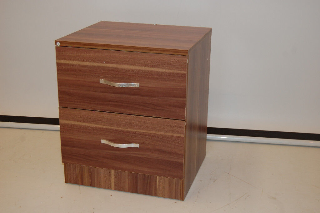 e7e6ee763389 Riano 2 Drawer Bedside Chest Cabinet Wood Bedroom Storage Furniture - Walnut