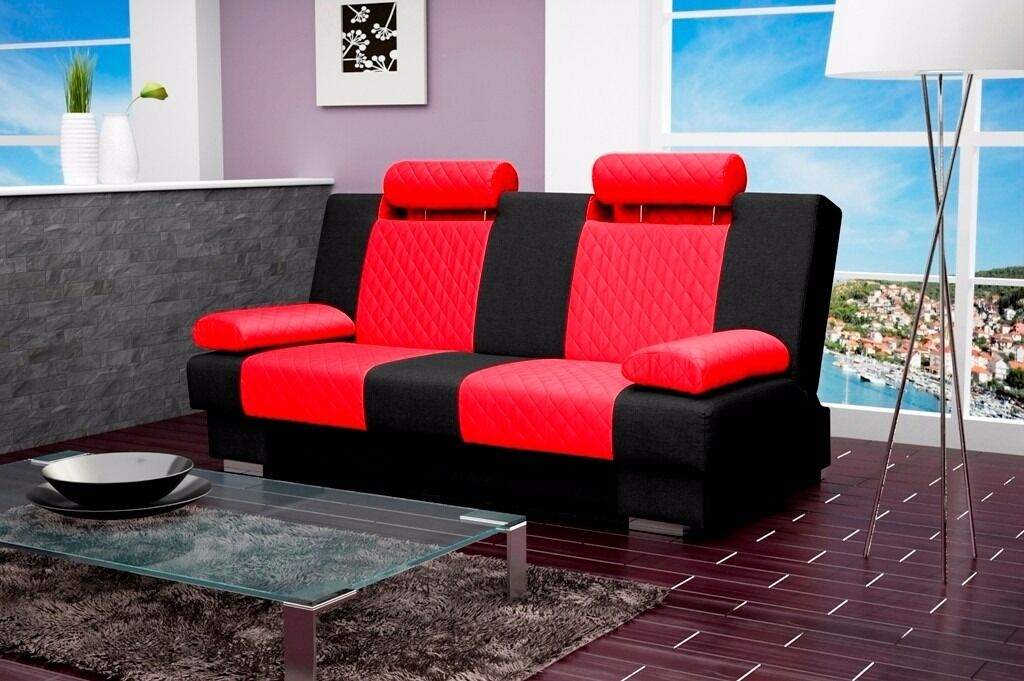 Sofa ANTONIO, SOFA BED, CLICK CLACK, RED WITH BLACK FABRIC, FAST DELIVERYin Carlton, NottinghamshireGumtree - You can use it as a daily sofa and easily transform it into a comfortable bed. Adjustable headrests Our sofa bed is also equipped with a storage, where you can place your cushions, pillows and beddings. 2 armrest cushions included DIMENSIONS Width...
