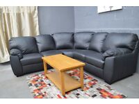 EX DISPLAY Real Leather Corner Sofas - Chocolate- Black - We Deliver -
