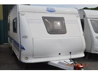 Luxury 2005 model Hobby exclusive 4 birth caravan with Awning