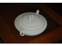 Vintage white Burleighware dish with lid