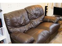 2 SEATER BROWN LEATHER SOFA AND WALL UNIT