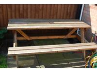 6 Seater Pub Style Wooden Garden Bench