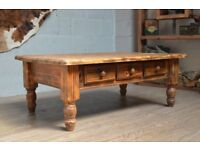 Refurbished Large Solid Wood Burn Effect Coffee Table with 3 Drawers