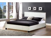 BLACK BROWN OR WHITE- NEW DOUBLE SIZE FAUX LEATHER DOUBLE BED FRAME + MEMORY FOAM ORTHO MATTRESS