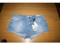 TopShop Moto Daisy Denim Shorts, size 12