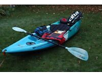 Kayak 10ft sit on. Feel Free Nomad. Used 2 or 3 times. Comes with life jackets, paddle and trolley
