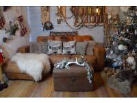 Cesar Vintage Distressed Leather Corner Sofa Couch Suite Tan