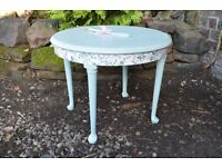 ~Shabby Chic Pretty Round Floral Side/Coffee Table. Annie Sloan Wax in Green~