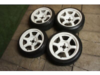 "Genuine ROTA Grid 16"" Alloy wheels 4x100 Mx5 Civic Clio Corsa Stance JDM Alloys White"