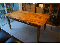 Large 8 seater oak table and 4 new faux leather chairs