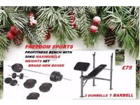 Profitness Weights Bench With 50kg Maximuscle Weights Set Brand New Boxed