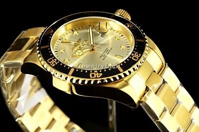 Invicta Men's Pro Diver 43MM Sunray Silver Dial 18k Gold Tone SS Bracelet Watch