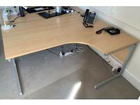 FREE SAME DAY DELIVERY - Corner L Shaped Office Desks (w) 1600mm x (d) 1200mm & Desk High Pedestal