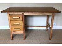 Vintage Retro 3 Drawer Single Pedestal Light Oak Abbess Style Desk
