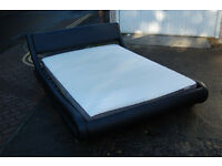 Black leather / double bed / bed frame / Modern bed