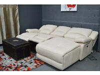 EX DISPLAY( F-VILLAGE) RONSON CORNER CHAISE ELECTRIC RECLINER LEATHER CREAM