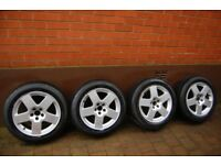 4 x genuine Audi wheels and Pirelli tyres (205/55 R 16) Previously used on Audi TT (mark 1) .