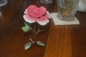 Vintage authentic Cap di Monte red rose with sticker still on