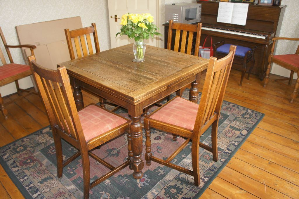 Vintage 1940s Utility Solid Wood Dining Table And 6 Upholstered Chairs Including 2 Carver Armchairs