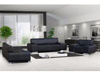 BRAND NEW VICENZA LEATHER 3+2+1 SEATER SOFA IN BLACK, BROWN OR RED (FREE DELIVERY!!!)