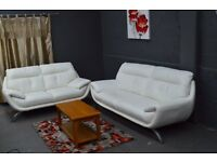 EX DISPLAY Designer 3+2 Star White Real Leather Sofa Set