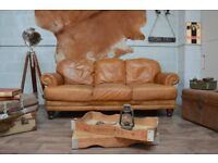 Vintage Leather 3 Seater Sofa Tan Studs