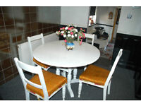 Shabby Chic White table and four upholstered chairs