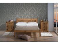 """SMALL DOUBLE WOODEN OAK BED + 6"""" MEMORY FOAM MATTRESS + QUALITY DUVET + 2 PILLOWS"""