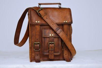 New Men's Real Vintage Brown Leather Satchel Messenger Shoulder Cross Body Bag