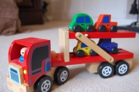 Santoy Wooden Car Transporter with 4 cars.