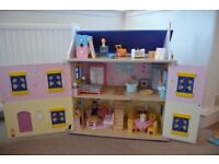 Dolls House with furniture and dolls - great condition