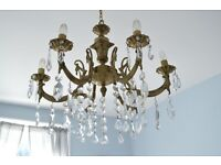 ANTIQUE FRENCH GILT LUSTER SIX ARM CHANDELIER