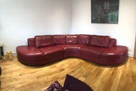DFS deep red corner sofa