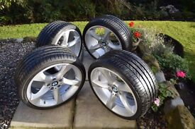 "Bmw e90,91,92- 19"" alloy wheels mint set staggered 19"" twists with as new rft tyres"