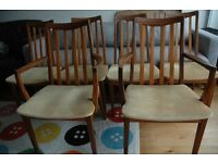 4x Retro Vintage 1960s Oak G Plan vintage High Back Teak and 2 Carver Chairs