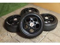 "Genuine Porsche 15"" Teledial Alloys wheels 5x130 944 928 VW Stance alloys"