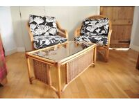 Bamboo chairs and table. Will split chairs from table.