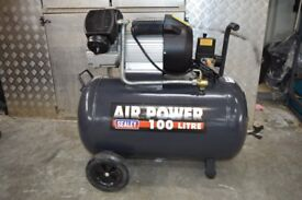 Compressor 100ltr V-Twin Direct Drive 3hp AS NEW (1 MONTH OLD)