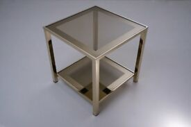 Gold plated side table with shelf, 23 Karat by Belgo Chrome, 1980`s, Belgian