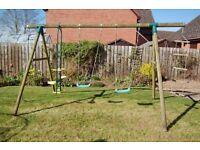 Plum Gibbeon Wooden Garden Play Swing Set
