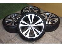 "Genuine VW 18"" Chicago Alloy wheels & Tyres 5x112 Golf Passat CC Eos Audi A3 A4 Caddy Alloys"