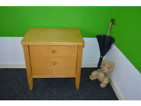 Bedside cabinet, modern birch bedside table with 2 drawers for bedroom, chest of drawers.