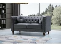 🔵💖TOP QUALITY🔵💖-plush velvet Florence sofa 3 and 2 seater sofa set in grey color-flat packed