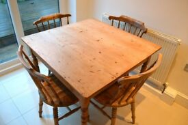 OLD VICTORIAN PINE KITCHEN DINING TABLE C.1880