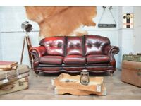 Chesterfield Vintage Leather 3 Seater Sofa Ox Blood