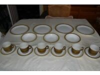 Poole Choisya Olive part Dinner/Tea Set of 19 items, Oven, Microwave and Dishwasher Safe, Ex Cond.